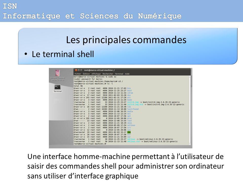 Les principales commandes Le terminal shell Une interface homme-machine permettant à lutilisateur de saisir des commandes shell pour administrer son o