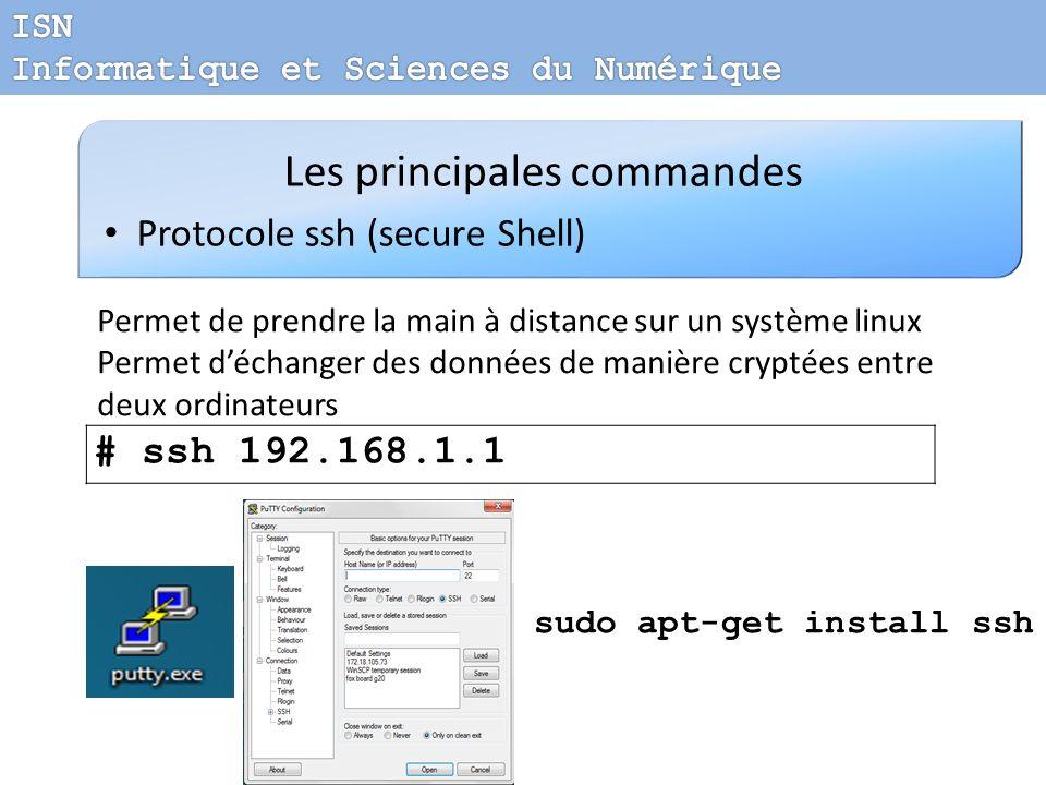 Les principales commandes Protocole ssh (secure Shell) Permet de prendre la main à distance sur un système linux Permet déchanger des données de maniè