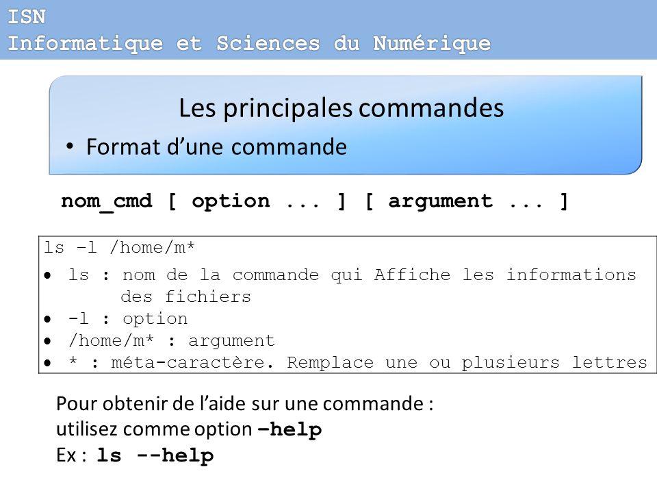 Les principales commandes Format dune commande nom_cmd [ option... ] [ argument... ] ls –l /home/m* ls : nom de la commande qui Affiche les informatio