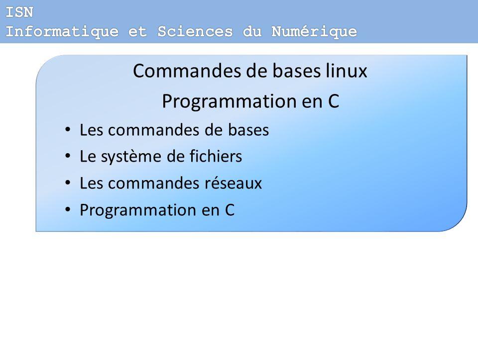 Commandes de bases linux Programmation en C Les commandes de bases Le système de fichiers Les commandes réseaux Programmation en C