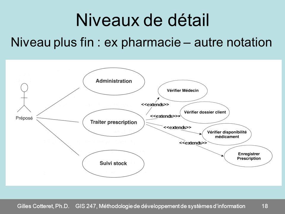 Gilles Cotteret, Ph.D.GIS 247, Méthodologie de développement de systèmes dinformation18 Niveaux de détail Niveau plus fin : ex pharmacie – autre notat