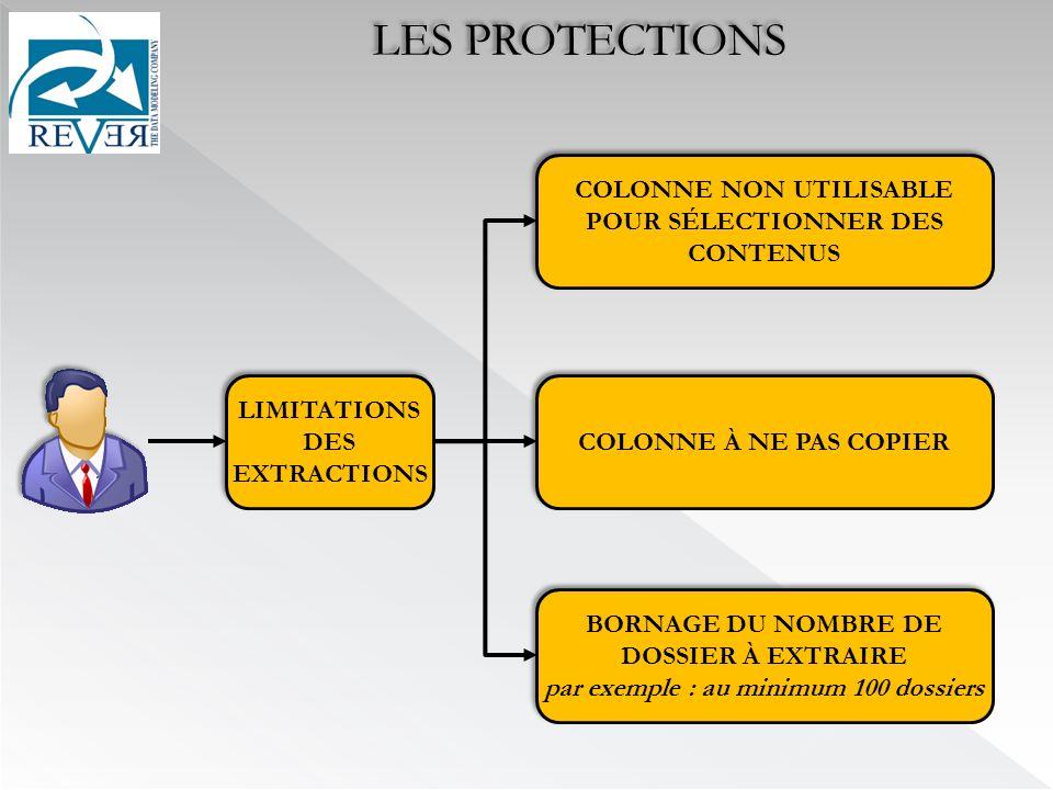 LIMITATIONS DES EXTRACTIONS COLONNE NON UTILISABLE POUR SÉLECTIONNER DES CONTENUS COLONNE À NE PAS COPIER BORNAGE DU NOMBRE DE DOSSIER À EXTRAIRE par exemple : au minimum 100 dossiers BORNAGE DU NOMBRE DE DOSSIER À EXTRAIRE par exemple : au minimum 100 dossiers LES PROTECTIONS