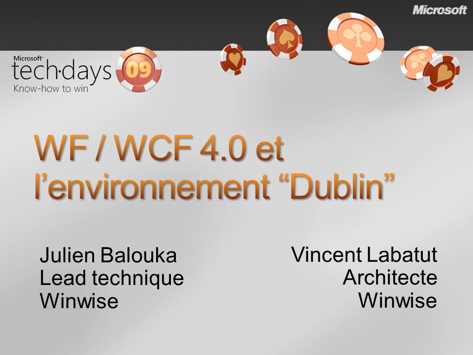 IIS Manager WF and WCF Frameworks Persistence SQL Persistence Provider Management APIs (PowerShell command-lets) WF and WCF Management Modules WF and WCF Management Modules Runtime Databases Persistence schema Monitoring schema Monitoring WF SQL Tracking Provider WCF SQL Tracking Behaviors Messaging Forwarding Service Hosting Durable Timer Service Visual Studio WF and WCF Project Templates Windows Application Server Role Discovery Service Dublin adds Dublin enhances Windows/IIS/.NET 4.0 Scale-out & Reliability Discovery & Control Application Monitoring Versioning, Partitioning, Routing System Center App Server SCOM Pack It just works !