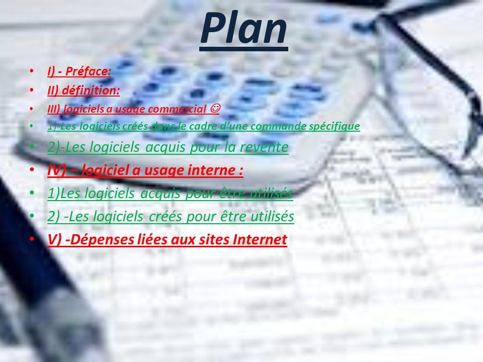 Plan I) - Préface: II) définition: III) logiciels a usage commercial 1)-Les logiciels créés dans le cadre dune commande spécifique 2)-Les logiciels ac