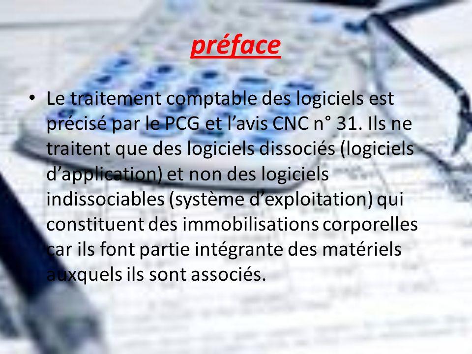 préface Le traitement comptable des logiciels est précisé par le PCG et lavis CNC n° 31. Ils ne traitent que des logiciels dissociés (logiciels dappli