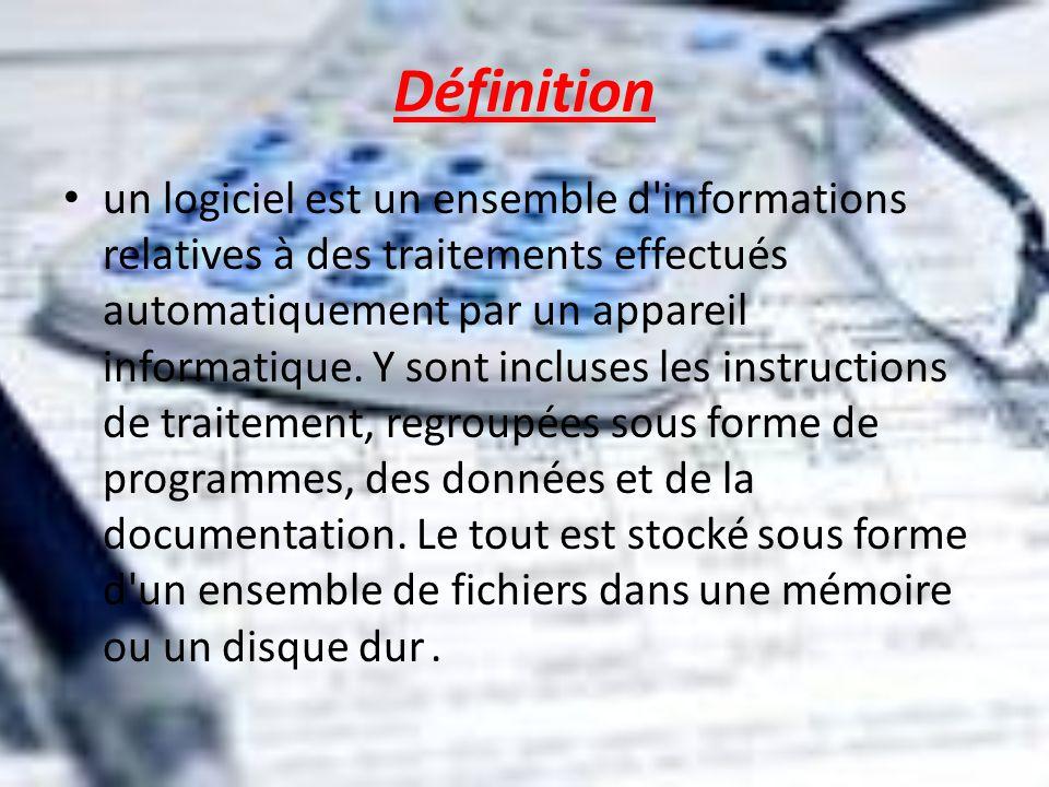 Définition un logiciel est un ensemble d'informations relatives à des traitements effectués automatiquement par un appareil informatique. Y sont inclu