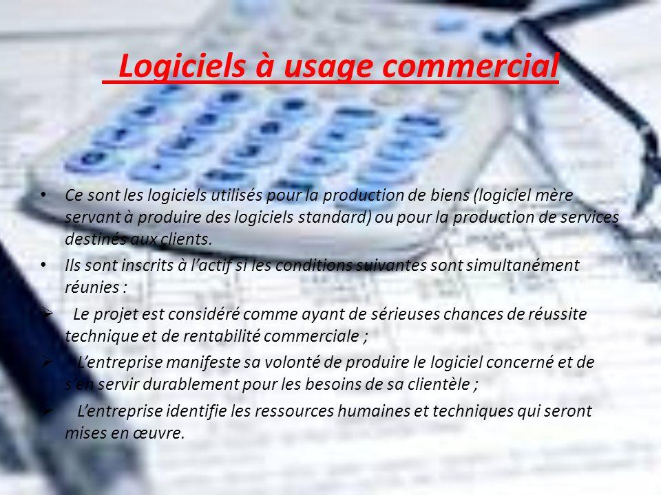 Logiciels à usage commercial Ce sont les logiciels utilisés pour la production de biens (logiciel mère servant à produire des logiciels standard) ou p