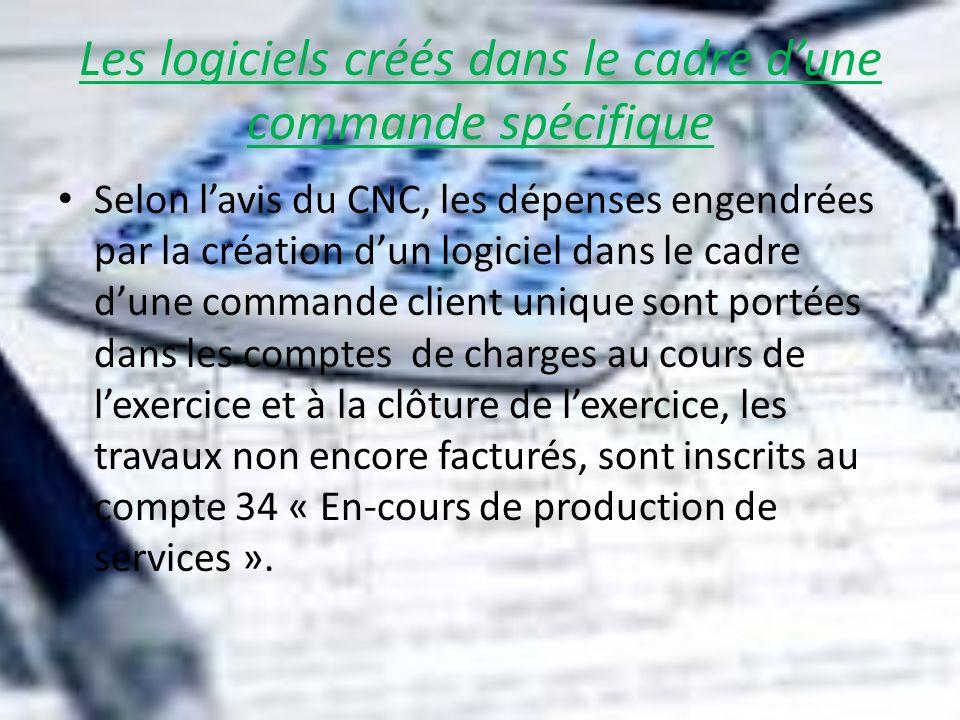 Les logiciels créés dans le cadre dune commande spécifique Selon lavis du CNC, les dépenses engendrées par la création dun logiciel dans le cadre dune