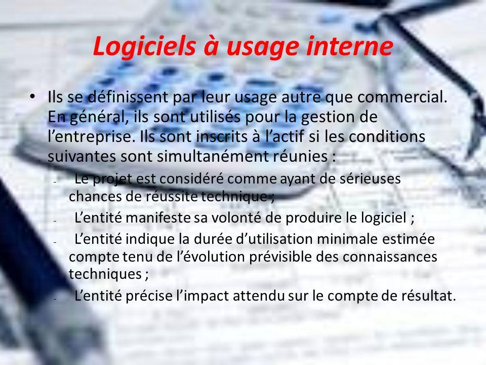 Logiciels à usage interne Ils se définissent par leur usage autre que commercial. En général, ils sont utilisés pour la gestion de lentreprise. Ils so