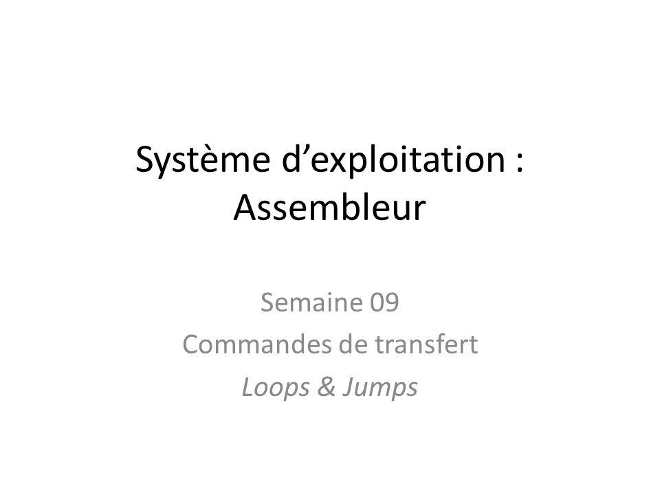 Système dexploitation : Assembleur Semaine 09 Commandes de transfert Loops & Jumps