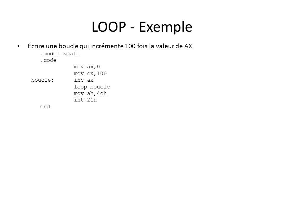 LOOP - Exemple Écrire une boucle qui incrémente 100 fois la valeur de AX.model small.code mov ax,0 mov cx,100 boucle:inc ax loop boucle mov ah,4ch int