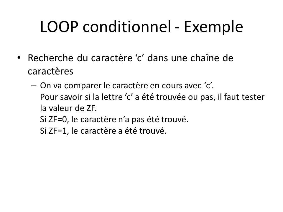 LOOP conditionnel - Exemple Recherche du caractère c dans une chaîne de caractères – On va comparer le caractère en cours avec c. Pour savoir si la le