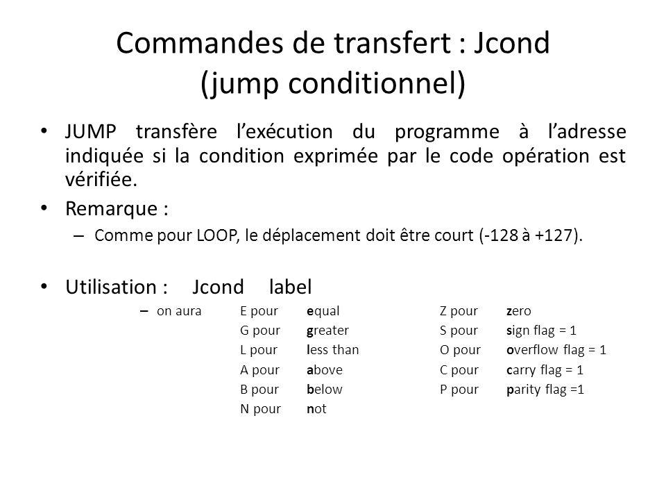 Commandes de transfert : Jcond (jump conditionnel) JUMP transfère lexécution du programme à ladresse indiquée si la condition exprimée par le code opé