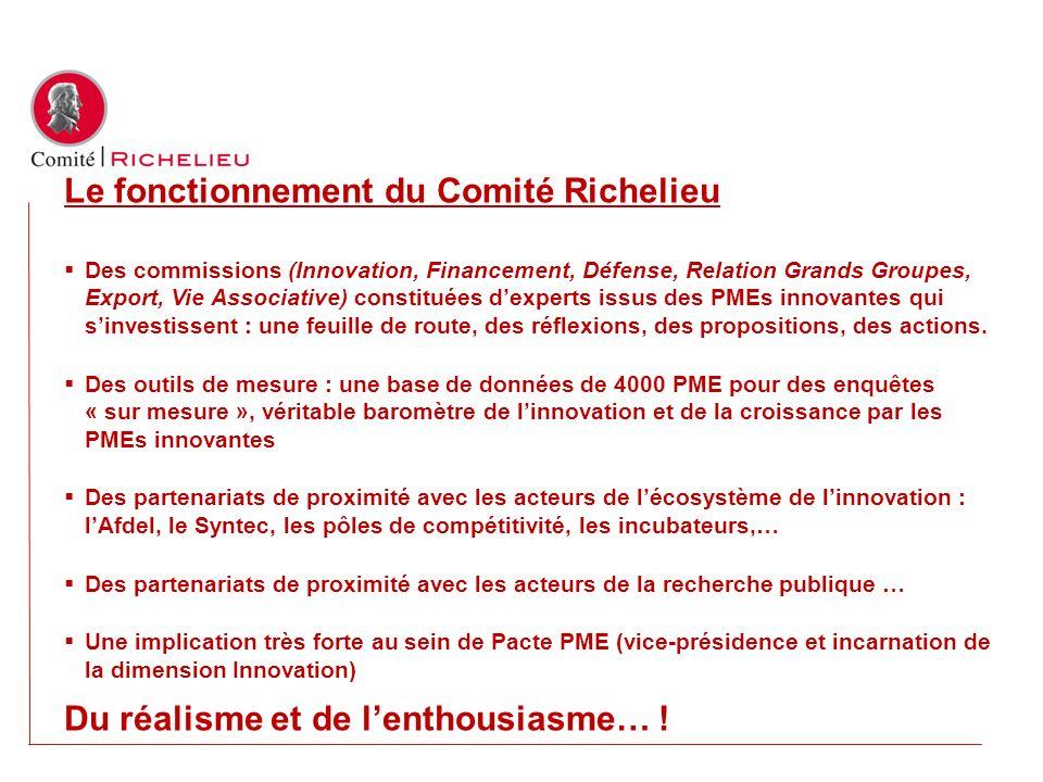Le fonctionnement du Comité Richelieu Des commissions (Innovation, Financement, Défense, Relation Grands Groupes, Export, Vie Associative) constituées