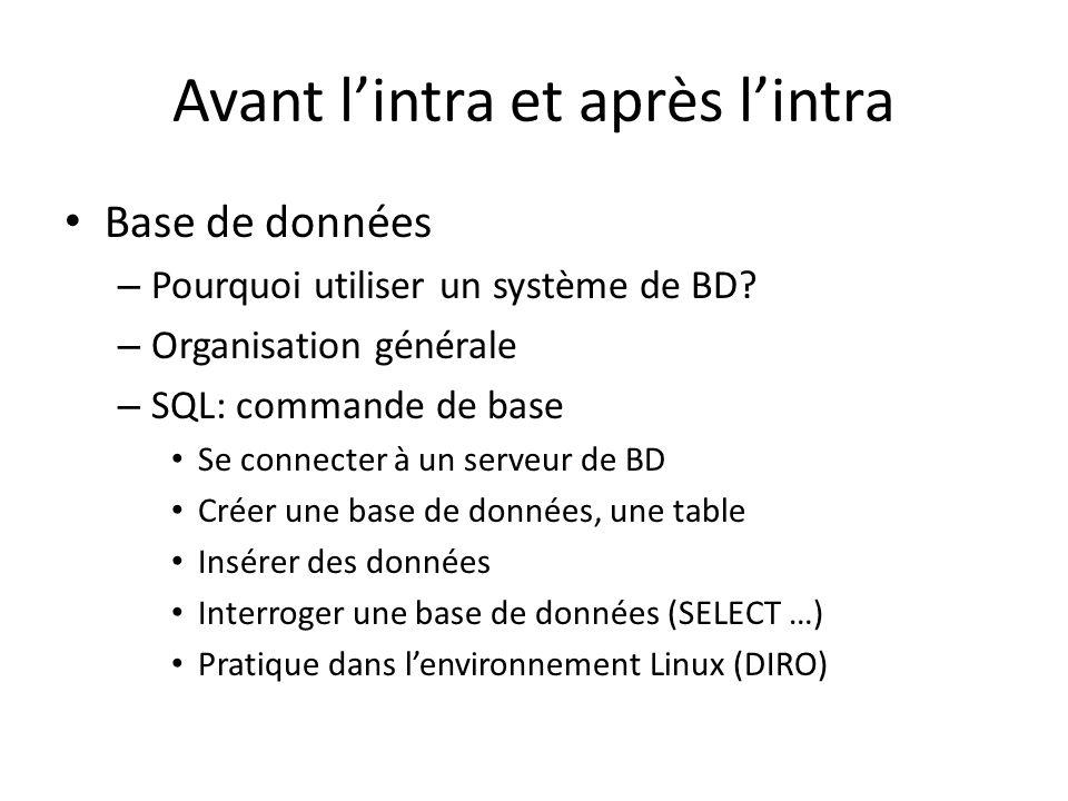 Avant lintra et après lintra Base de données – Pourquoi utiliser un système de BD.