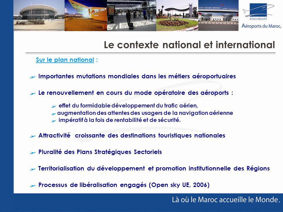 Sur le plan national : Importantes mutations mondiales dans les métiers aéroportuaires Le renouvellement en cours du mode opératoire des aéroports : e