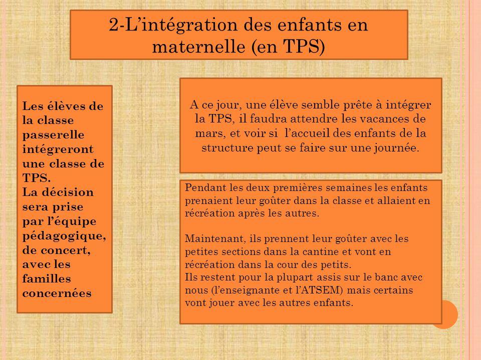 2-Lintégration des enfants en maternelle (en TPS) Les élèves de la classe passerelle intégreront une classe de TPS. La décision sera prise par léquipe