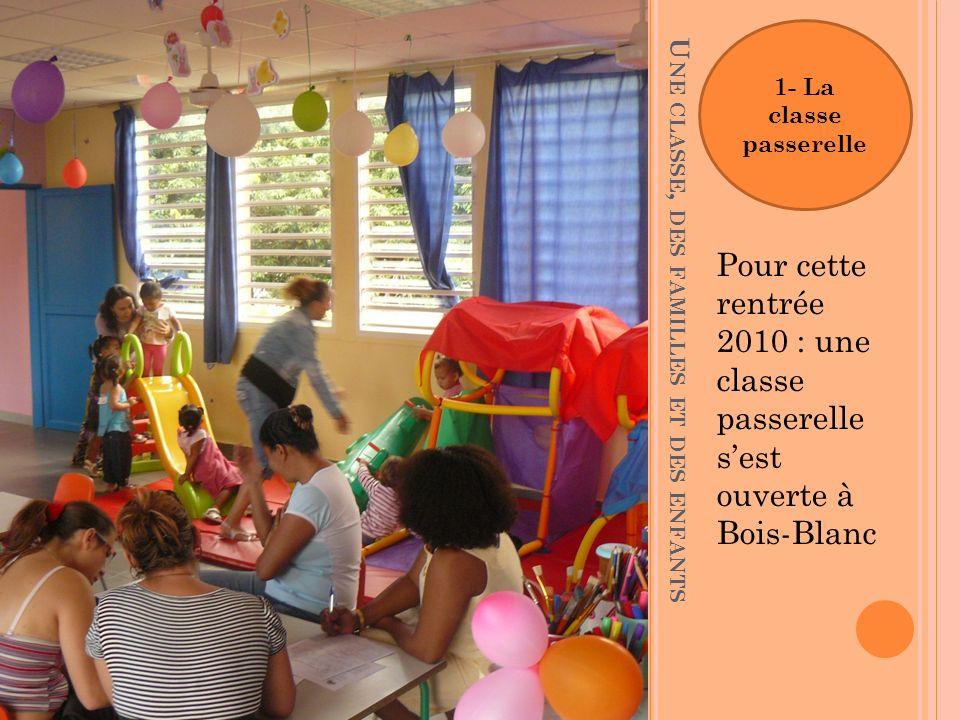 U NE CLASSE, DES FAMILLES ET DES ENFANTS Pour cette rentrée 2010 : une classe passerelle sest ouverte à Bois-Blanc 1- La classe passerelle
