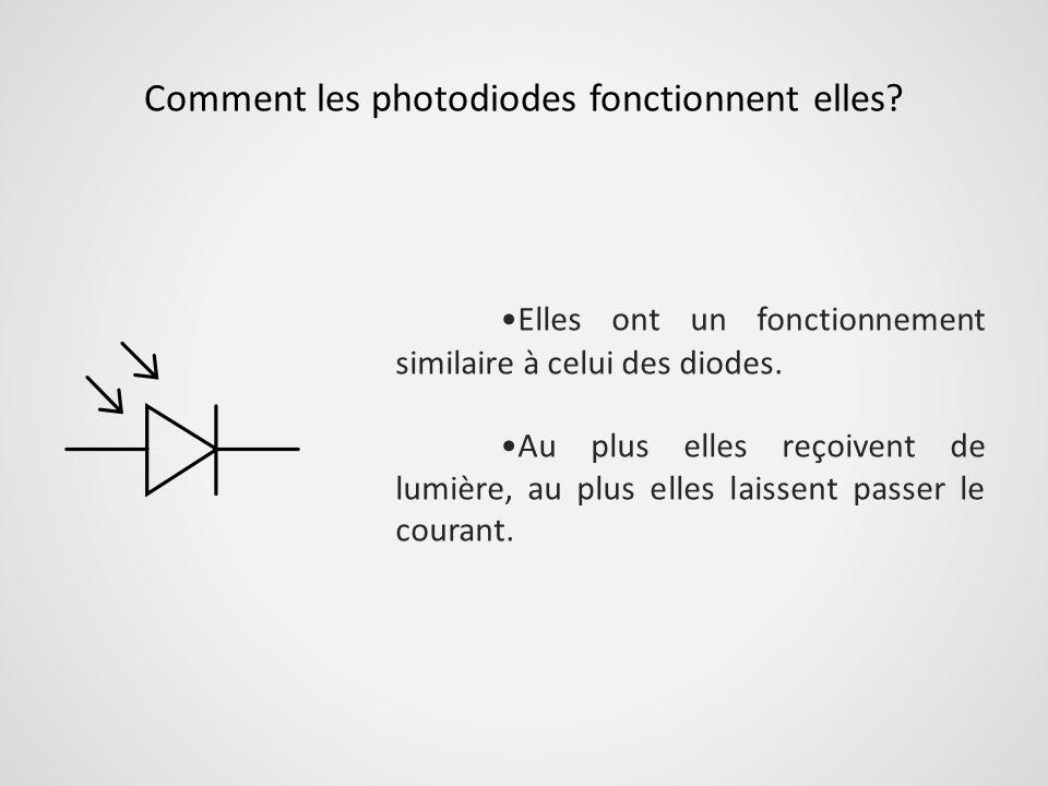Comment les photodiodes fonctionnent elles? Elles ont un fonctionnement similaire à celui des diodes. Au plus elles reçoivent de lumière, au plus elle