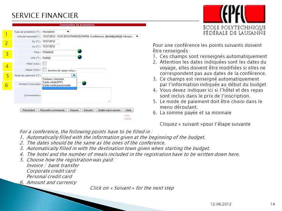 SERVICE FINANCIER 12.06.2012 14 2 1 3 4 5 Pour une conférence les points suivants doivent être renseignés : 1.Ces champs sont renseignés automatiquement 2.Attention les dates indiquées sont les dates du voyage, elles doivent être modifiées si elles ne correspondent pas aux dates de la conférence.