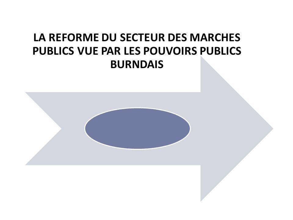 LA REFORME DU SECTEUR DES MARCHES PUBLICS VUE PAR LES POUVOIRS PUBLICS BURNDAIS