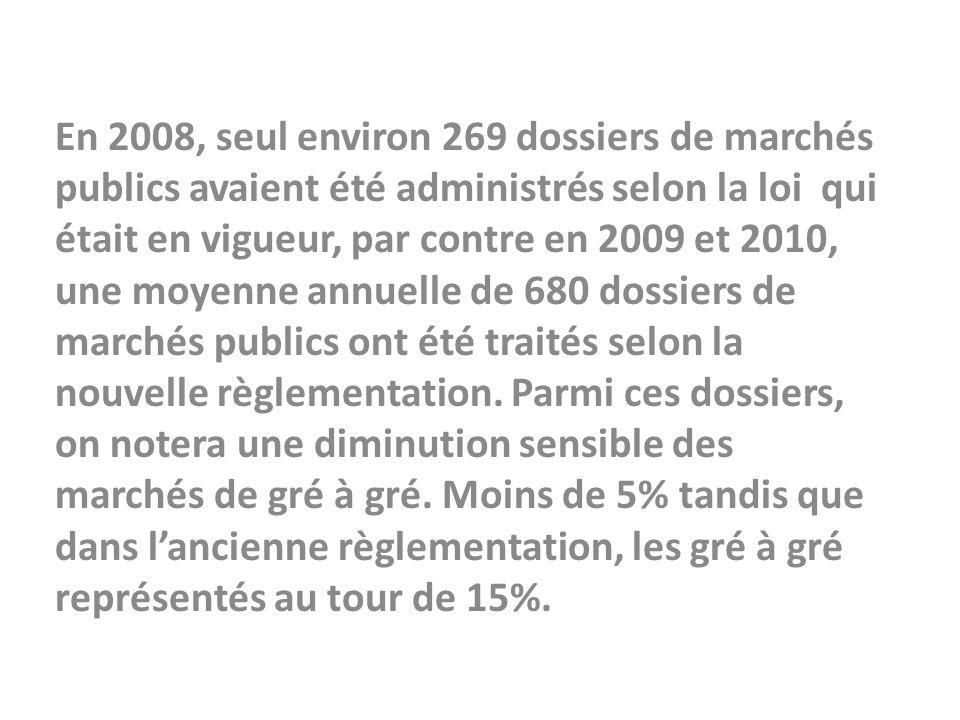En 2008, seul environ 269 dossiers de marchés publics avaient été administrés selon la loi qui était en vigueur, par contre en 2009 et 2010, une moyen