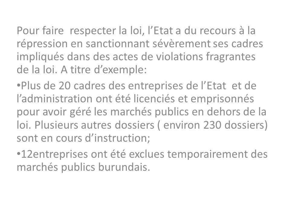 Pour faire respecter la loi, lEtat a du recours à la répression en sanctionnant sévèrement ses cadres impliqués dans des actes de violations fragrante