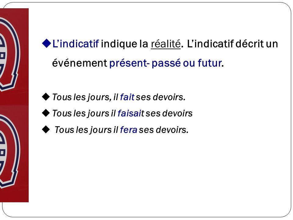 Lindicatif indique la réalité. Lindicatif décrit un événement présent- passé ou futur. Tous les jours, il fait ses devoirs. Tous les jours il faisait