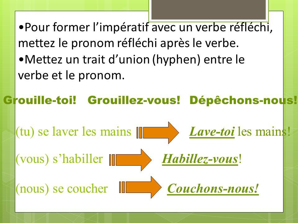 Pour former limpératif avec un verbe réfléchi, mettez le pronom réfléchi après le verbe.