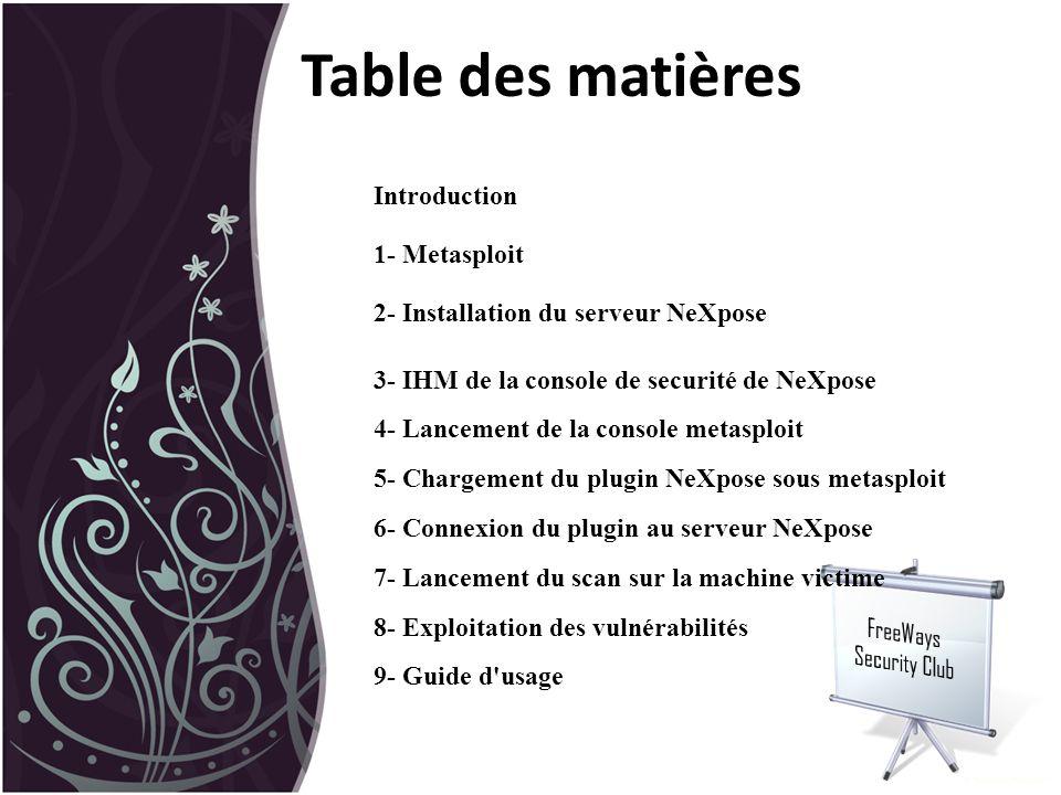 Table des matières Introduction 1- Metasploit 2- Installation du serveur NeXpose 3- IHM de la console de securité de NeXpose 4- Lancement de la consol