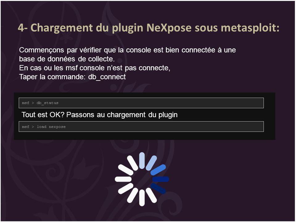 4- Chargement du plugin NeXpose sous metasploit: Commençons par vérifier que la console est bien connectée à une base de données de collecte. En cas o