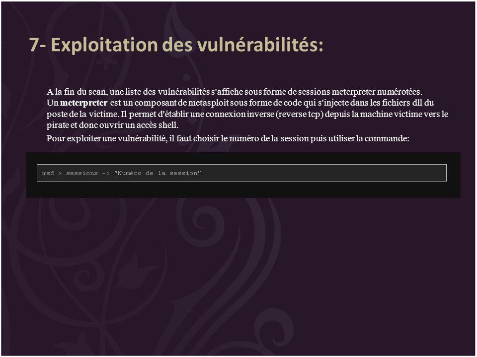 7- Exploitation des vulnérabilités: A la fin du scan, une liste des vulnérabilités s'affiche sous forme de sessions meterpreter numérotées. Un meterpr