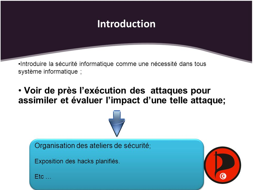 Introduction Introduire la sécurité informatique comme une nécessité dans tous système informatique ; Voir de près lexécution des attaques pour assimi