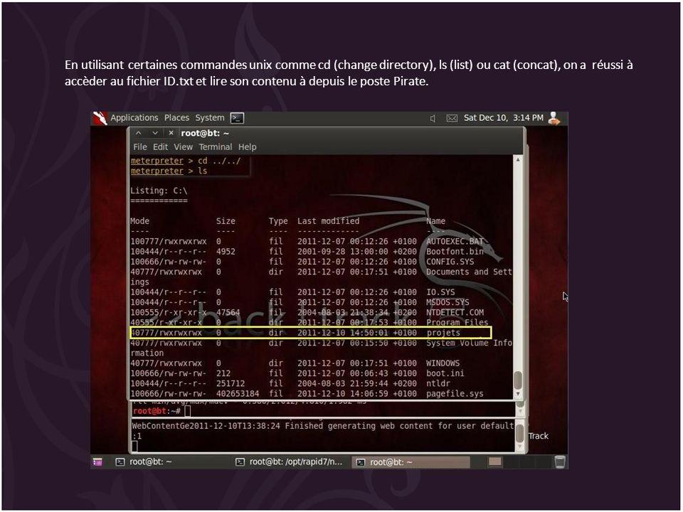 En utilisant certaines commandes unix comme cd (change directory), ls (list) ou cat (concat), on a réussi à accèder au fichier ID.txt et lire son cont