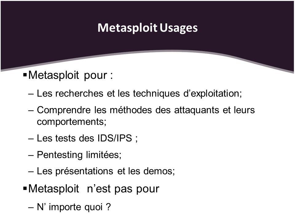 Metasploit Usages Metasploit pour : –Les recherches et les techniques dexploitation; –Comprendre les méthodes des attaquants et leurs comportements; –Les tests des IDS/IPS ; –Pentesting limitées; –Les présentations et les demos; Metasploit nest pas pour –N importe quoi ?