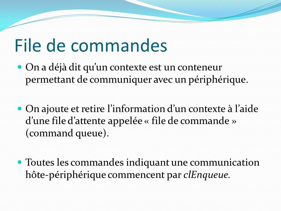 File de commandes On a déjà dit quun contexte est un conteneur permettant de communiquer avec un périphérique. On ajoute et retire linformation dun co