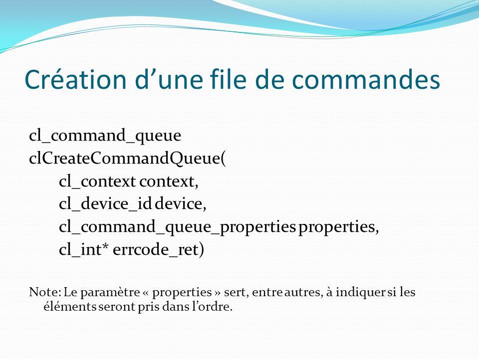 Création dune file de commandes cl_command_queue clCreateCommandQueue( cl_context context, cl_device_id device, cl_command_queue_properties properties
