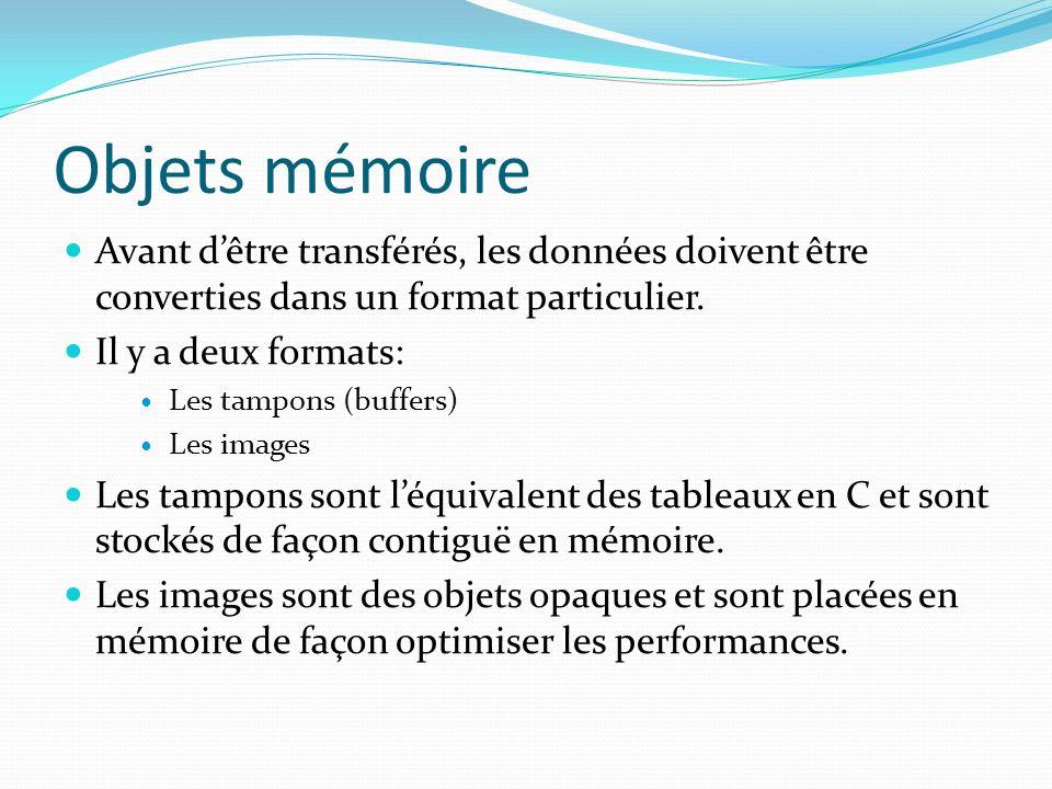 Objets mémoire Avant dêtre transférés, les données doivent être converties dans un format particulier. Il y a deux formats: Les tampons (buffers) Les