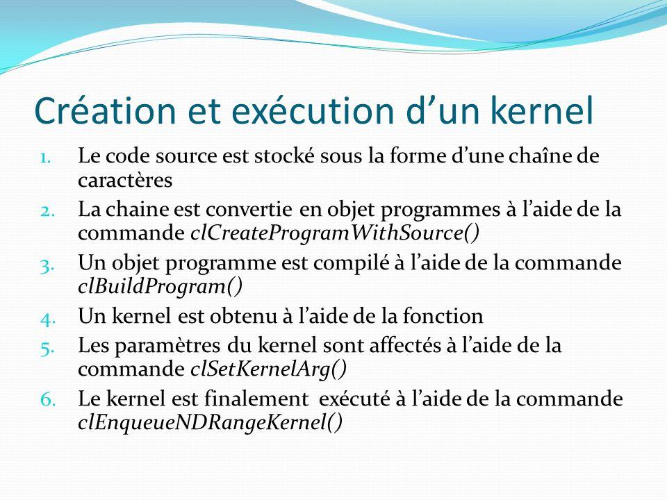 Création et exécution dun kernel 1. Le code source est stocké sous la forme dune chaîne de caractères 2. La chaine est convertie en objet programmes à