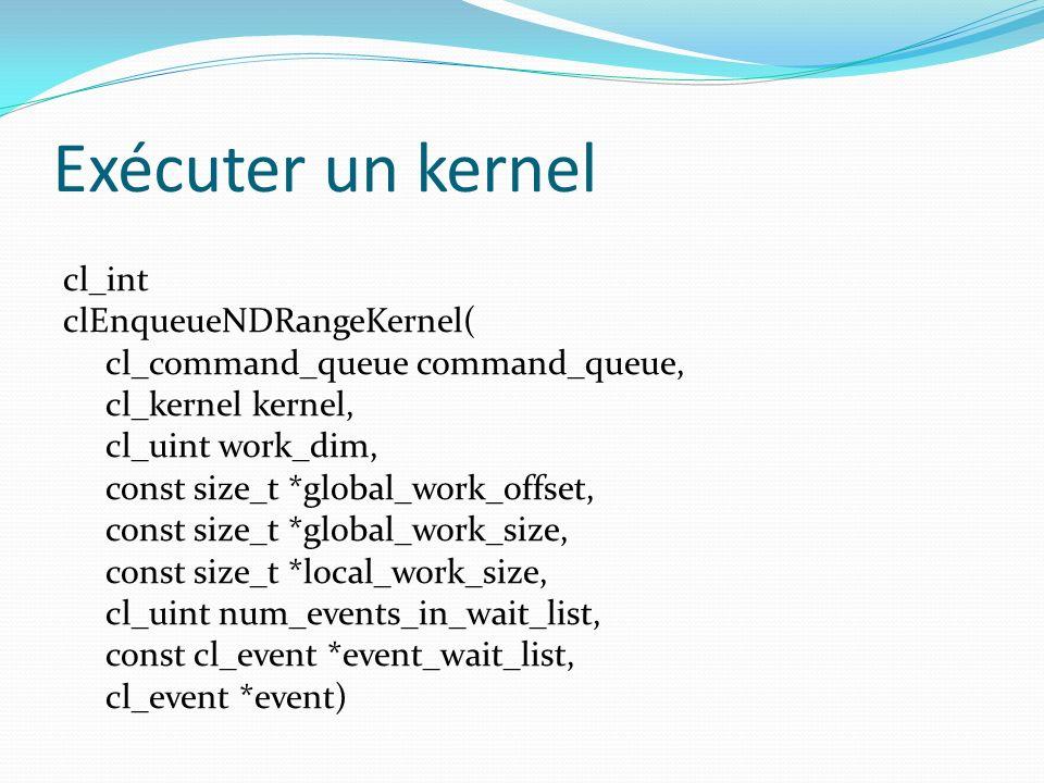 Exécuter un kernel cl_int clEnqueueNDRangeKernel( cl_command_queue command_queue, cl_kernel kernel, cl_uint work_dim, const size_t *global_work_offset