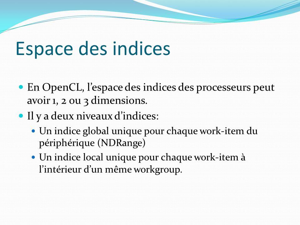 Espace des indices En OpenCL, lespace des indices des processeurs peut avoir 1, 2 ou 3 dimensions. Il y a deux niveaux dindices: Un indice global uniq