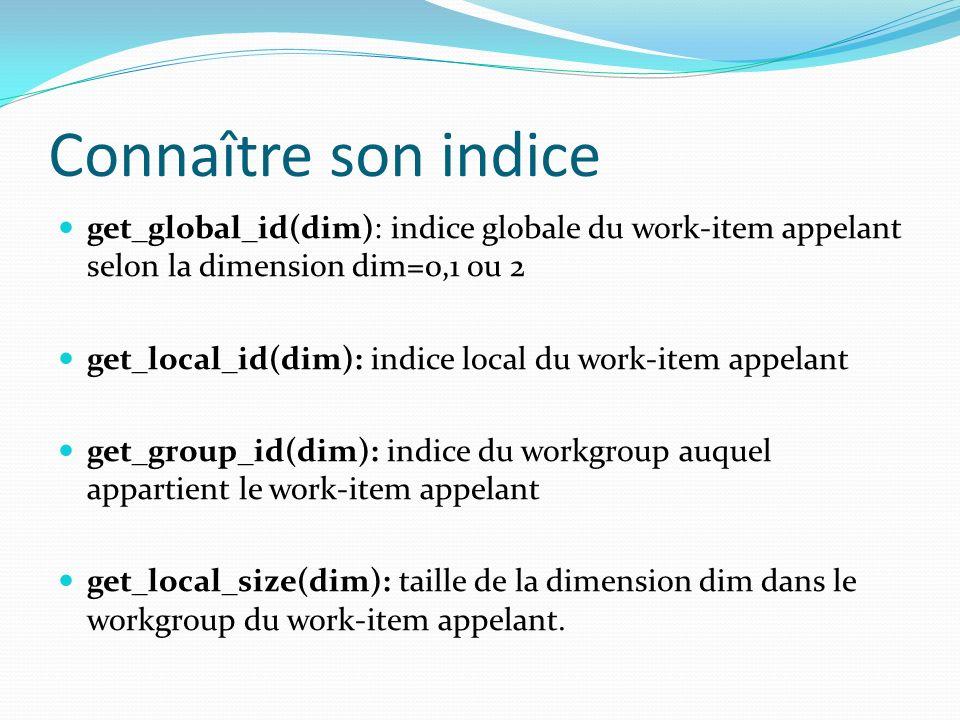 Connaître son indice get_global_id(dim): indice globale du work-item appelant selon la dimension dim=0,1 ou 2 get_local_id(dim): indice local du work-