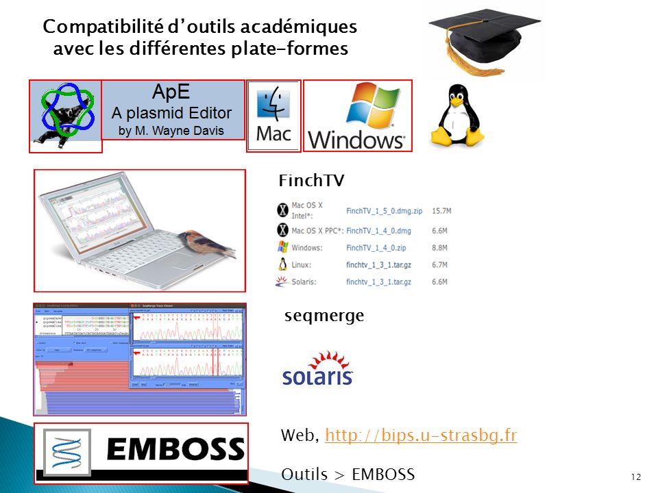 12 Compatibilité doutils académiques avec les différentes plate-formes FinchTV Web, http://bips.u-strasbg.frhttp://bips.u-strasbg.fr Outils > EMBOSS s