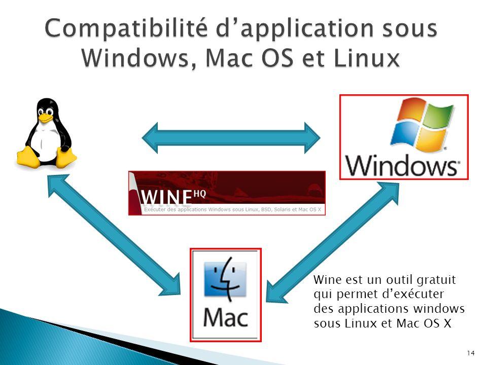 14 Wine est un outil gratuit qui permet dexécuter des applications windows sous Linux et Mac OS X
