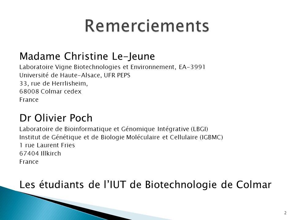 Madame Christine Le-Jeune Laboratoire Vigne Biotechnologies et Environnement, EA-3991 Université de Haute-Alsace, UFR PEPS 33, rue de Herrlisheim, 680