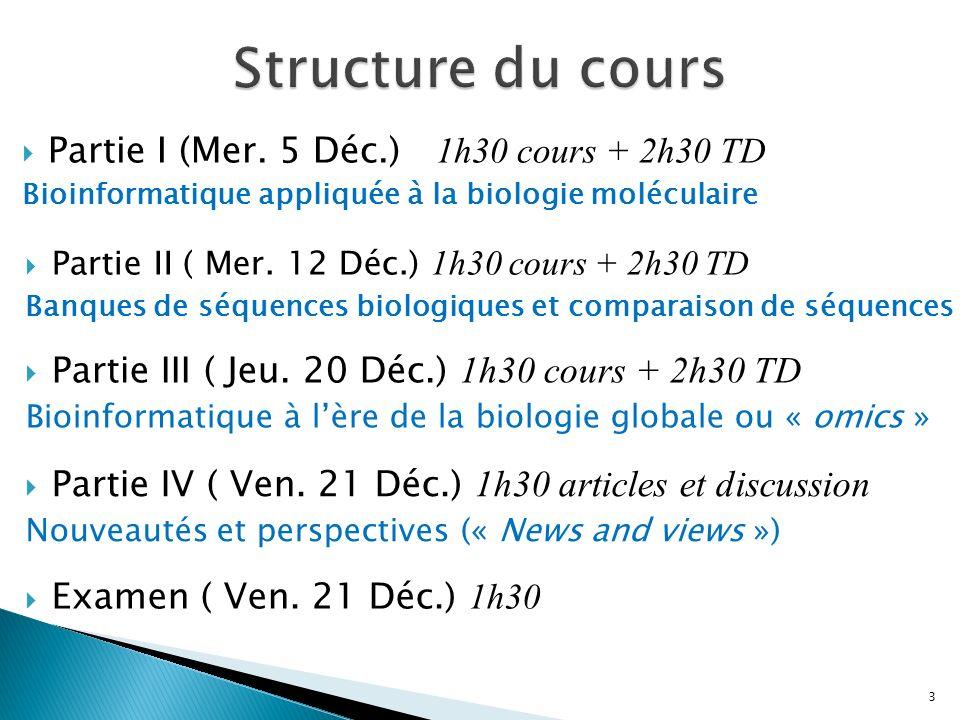 Partie I (Mer. 5 Déc.) 1h30 cours + 2h30 TD Bioinformatique appliquée à la biologie moléculaire Partie II ( Mer. 12 Déc.) 1h30 cours + 2h30 TD Banques