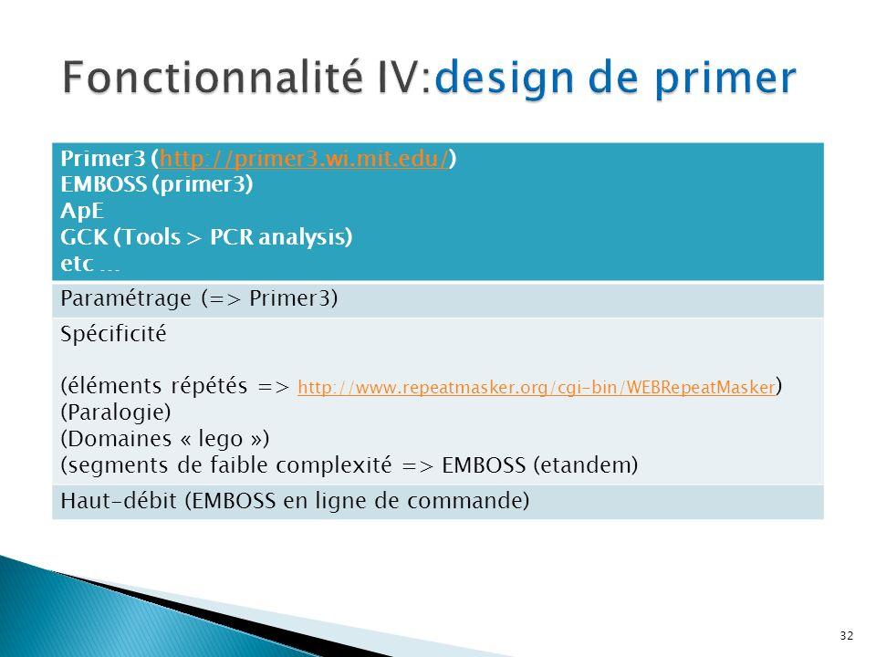 32 Primer3 (http://primer3.wi.mit.edu/)http://primer3.wi.mit.edu/ EMBOSS (primer3) ApE GCK (Tools > PCR analysis) etc … Paramétrage (=> Primer3) Spécificité (éléments répétés => http://www.repeatmasker.org/cgi-bin/WEBRepeatMasker ) http://www.repeatmasker.org/cgi-bin/WEBRepeatMasker (Paralogie) (Domaines « lego ») (segments de faible complexité => EMBOSS (etandem) Haut-débit (EMBOSS en ligne de commande)