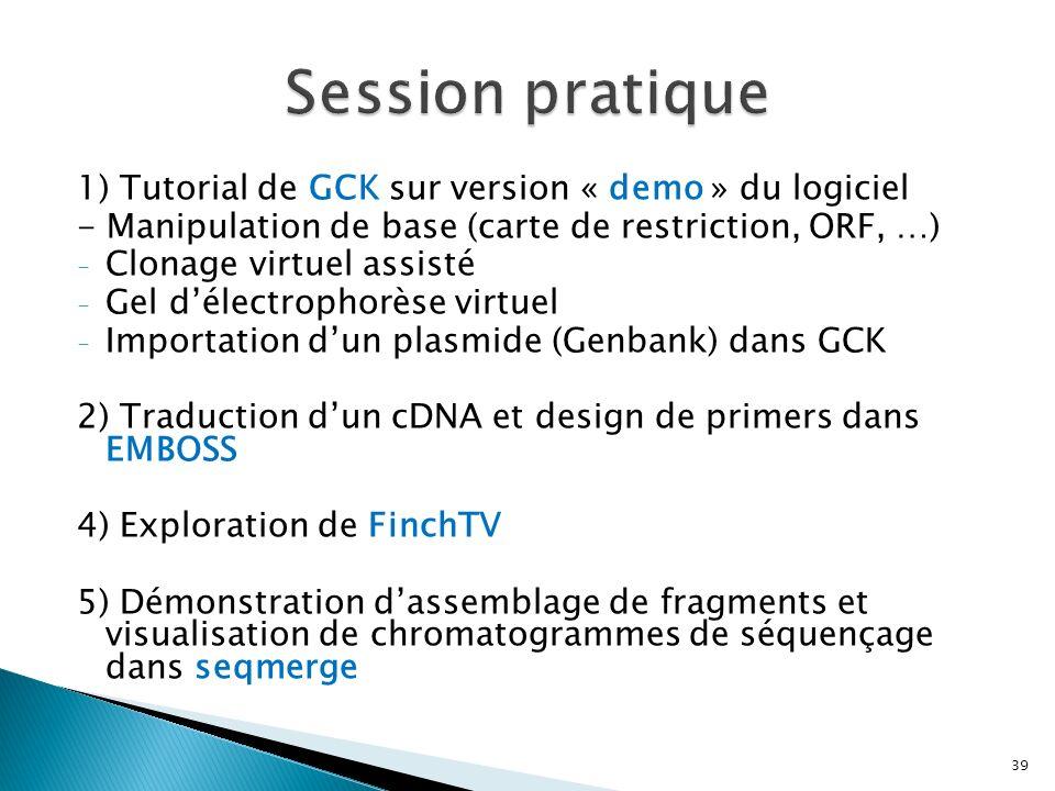 1) Tutorial de GCK sur version « demo » du logiciel - Manipulation de base (carte de restriction, ORF, …) - Clonage virtuel assisté - Gel délectrophor