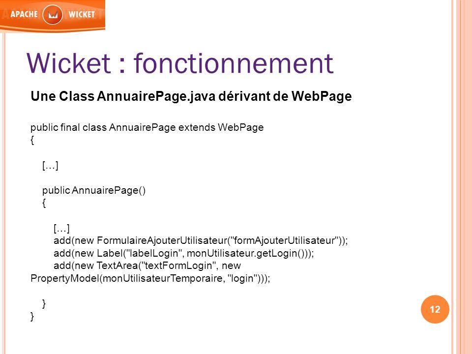 12 Wicket : fonctionnement Une Class AnnuairePage.java dérivant de WebPage public final class AnnuairePage extends WebPage { […] public AnnuairePage()
