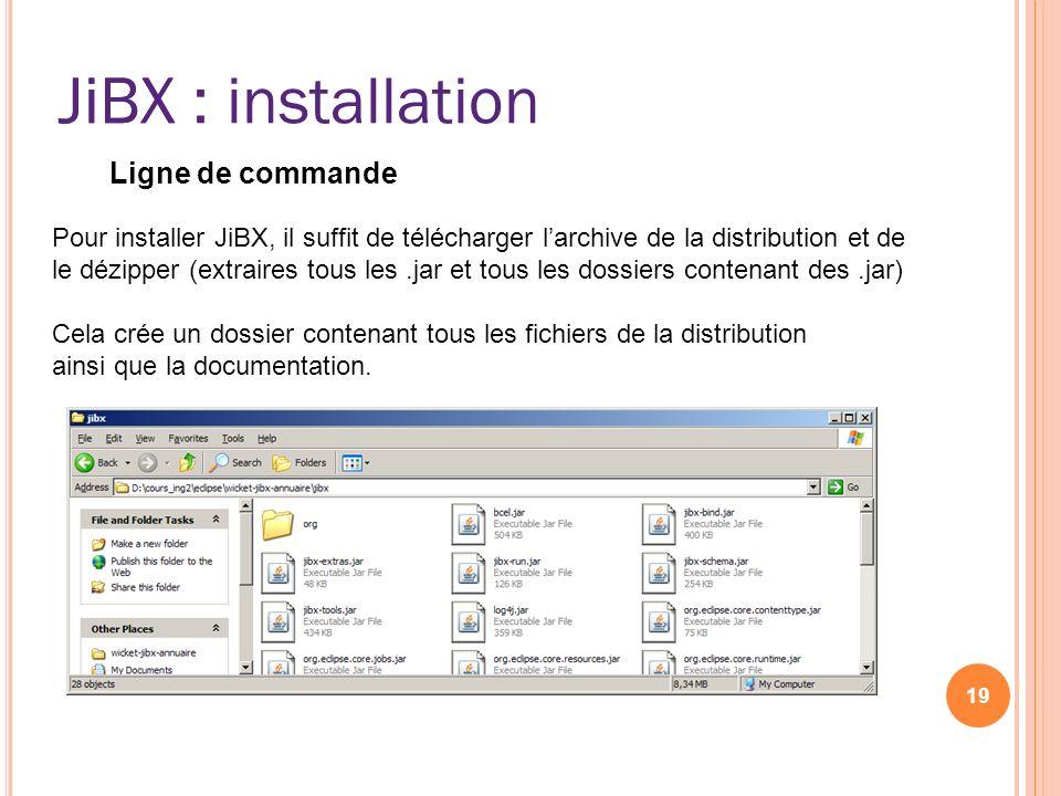 JiBX : installation 19 JiBX Ligne de commande Pour installer JiBX, il suffit de télécharger larchive de la distribution et de le dézipper (extraires t